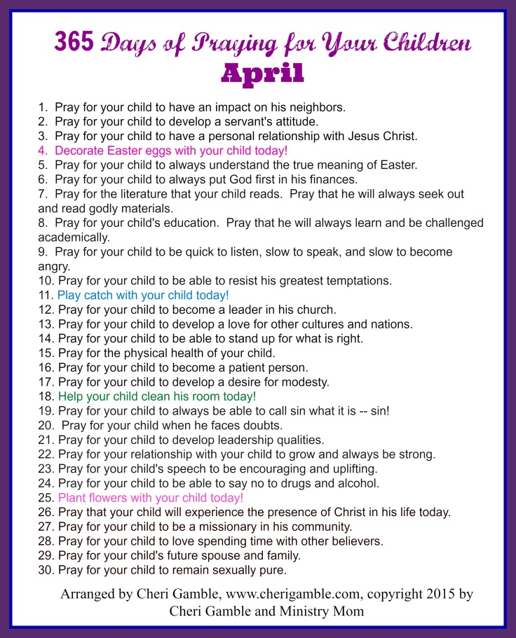 365 Days of Praying for your children April printable