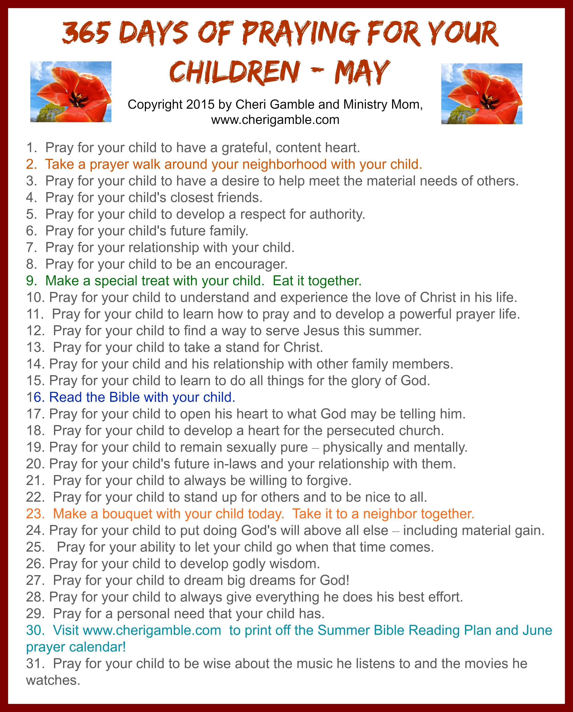 Calendar Ideas For Grandparents : Day prayer calendar for parents cheri gamble