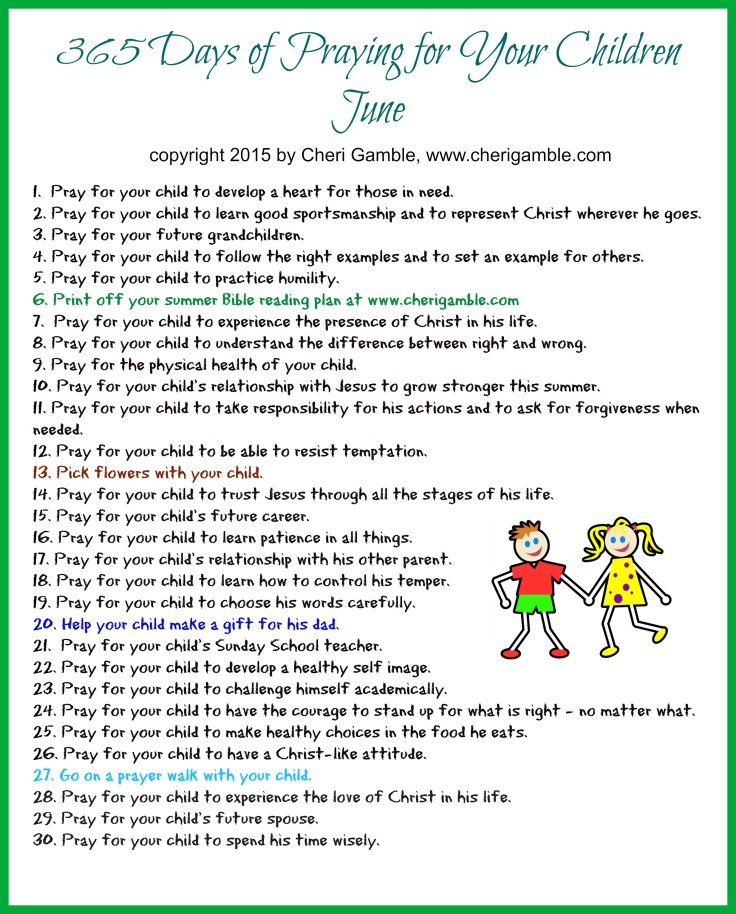 365 Days of Praying for your Children June printable