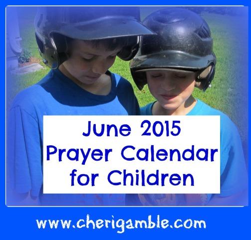 June 2015 Prayer Calendar for Children