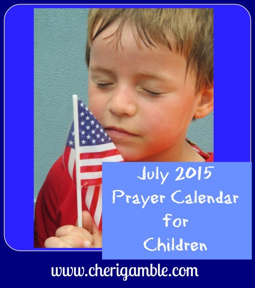 July 2015 prayer calendar for children