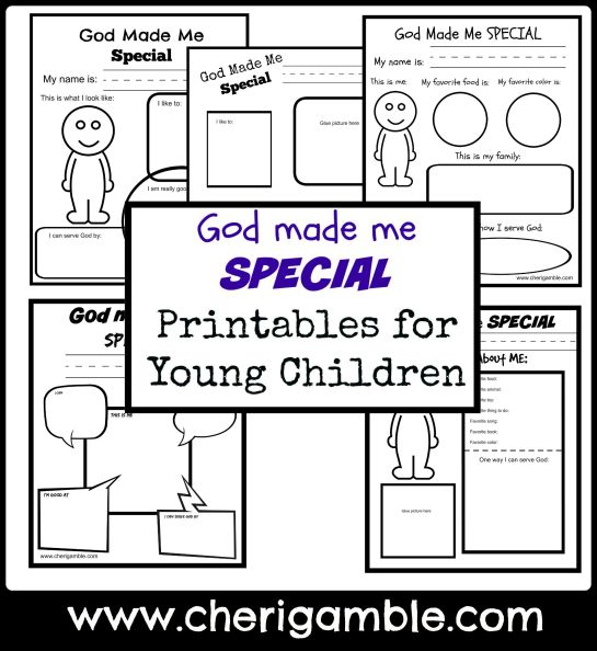 God made me special printables for young children