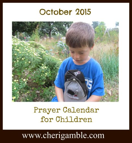 October 2015 Prayer Calendar for Children