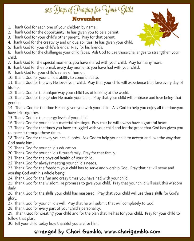 praying for children november