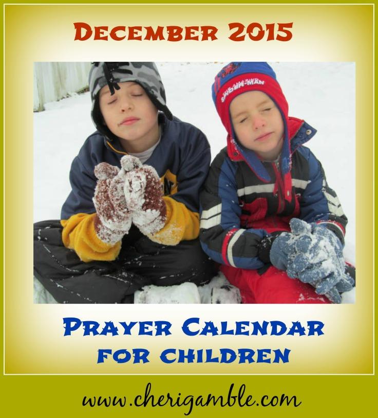 December prayer calendar for children