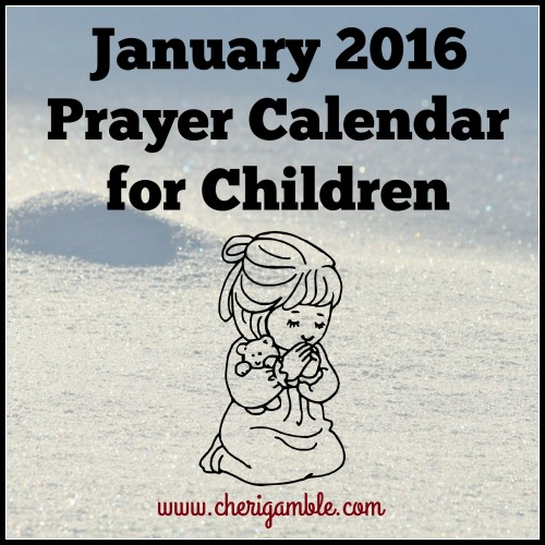 January 2016 Prayer Calendar for Children