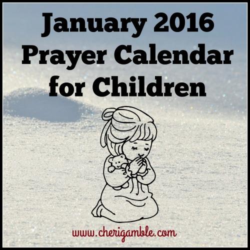 January 2016 Prayer Calendar for Children