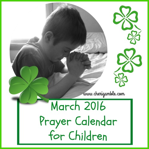 March 2016 Prayer Calendar for Children