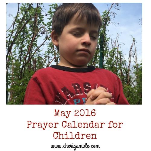 May Prayer Calendar for Children