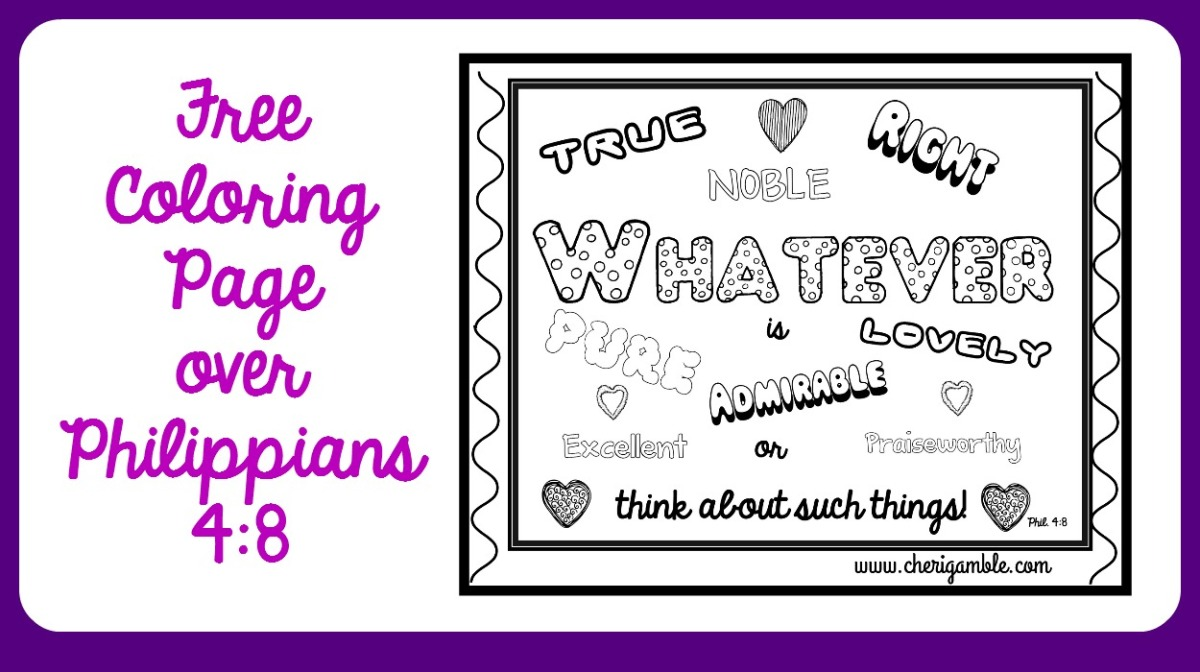philippians 4 8 coloring page u2013 ministry mom