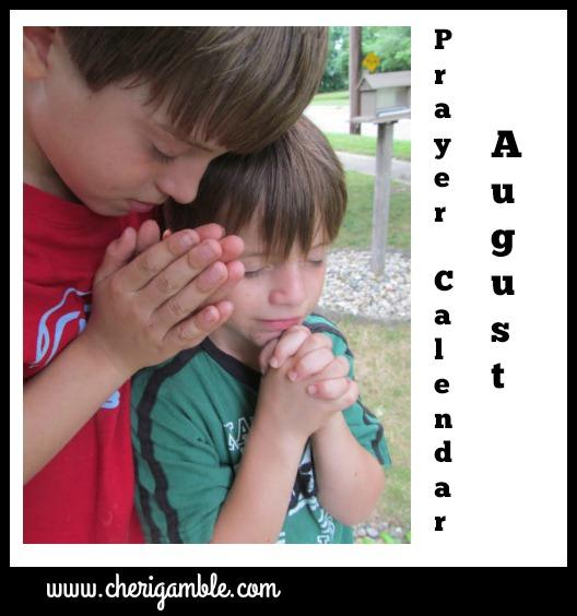 August 2016 Prayer Calendar