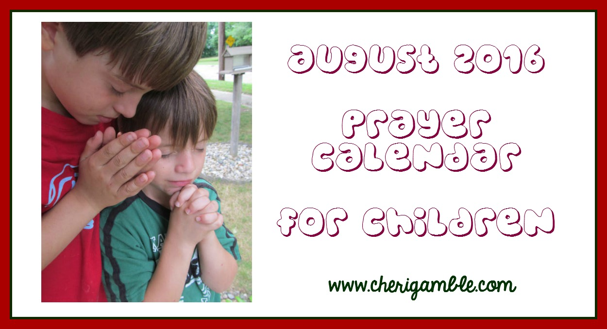 August 2016 Prayer Calendar for Children