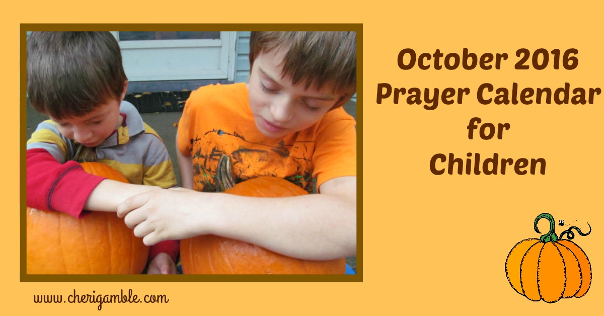 October 2016 Prayer Calendar