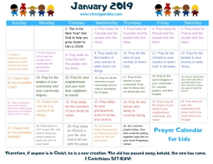january prayer calendar