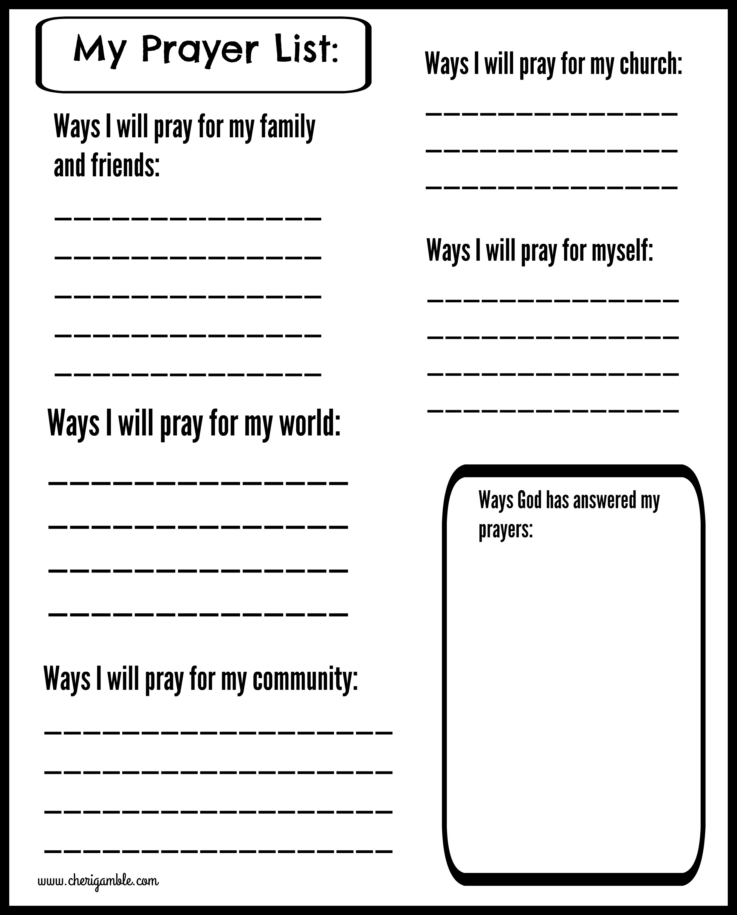 graphic relating to Prayer List Printable named Printable Prayer Publications for Young children Cheri Gamble