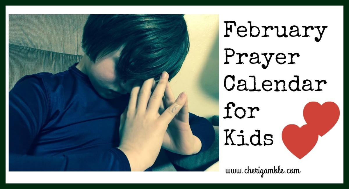 February Prayer Calendar forKids