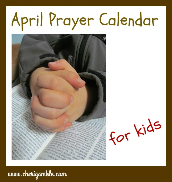 april prayer calendar for children