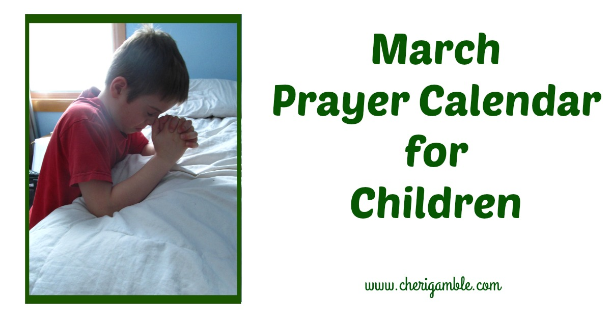 March Prayer Calendar for Kids