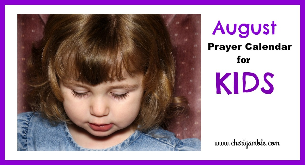 August Prayer Calendar for Kids