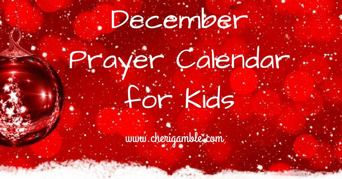 December Prayer Calendar forKids