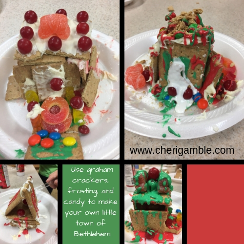 Use graham crackers, frosting, and candy to make your own little town of Bethlehem