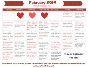 february prayer calendar