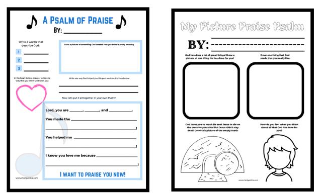 Praise Psalm Templates for Kids – Cheri Gamble